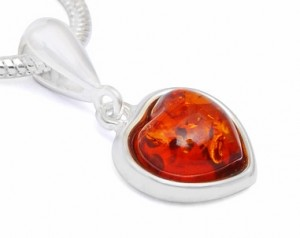"""Heart"" Pendant with Cognac Amber"