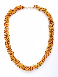 Cognac and yellow amber necklace