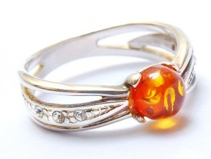 Cognac Amber Ring with zircons