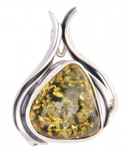 Green amber brooch