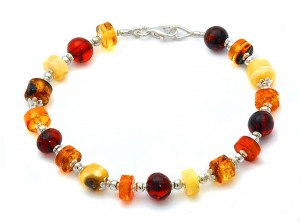 Mixed colour amber bracelet