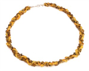 Yellow and green amber necklace
