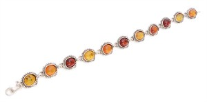 Yellow, cognac and cherry amber bracelet