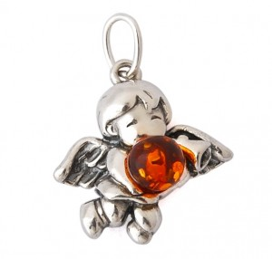 """Angel"" Pendant with cognac amber"